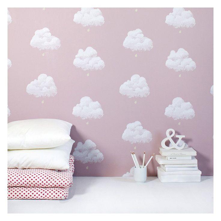 Papier peint nuage de coton rose santal r ves for Papier peint nuage