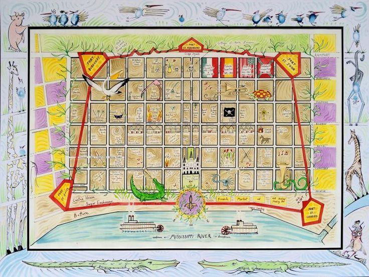 French Quarter Map - Large French Quarter Map 33 Of Embellished
