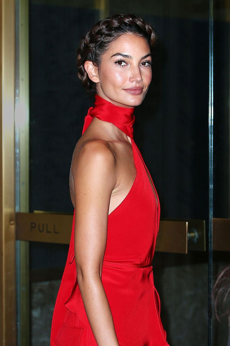 Lily Aldridge's holiday party braided updo
