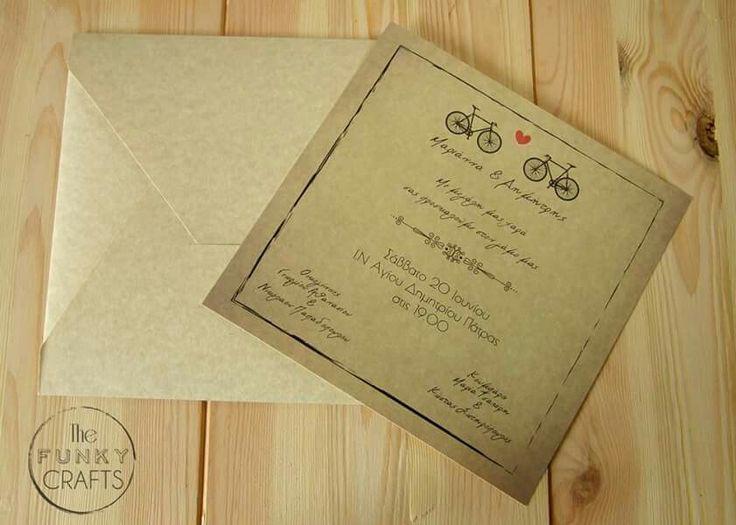 Προσκλητήριο γάμου με θέμα το ποδήλατο! Wedding invitation with bikes!