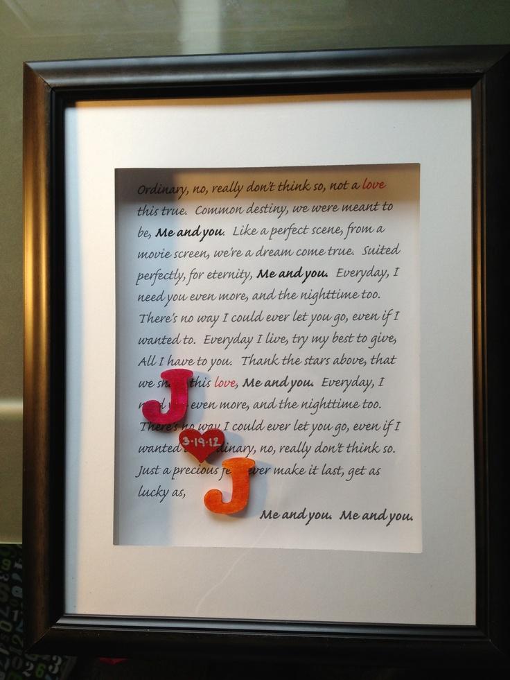 Shadowbox frame of wedding song1 year anniversary gift for 1 year wedding anniversary gifts