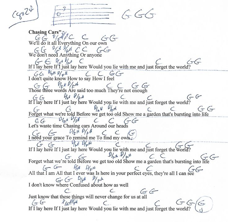 Guitar Chords For Chasing Cars