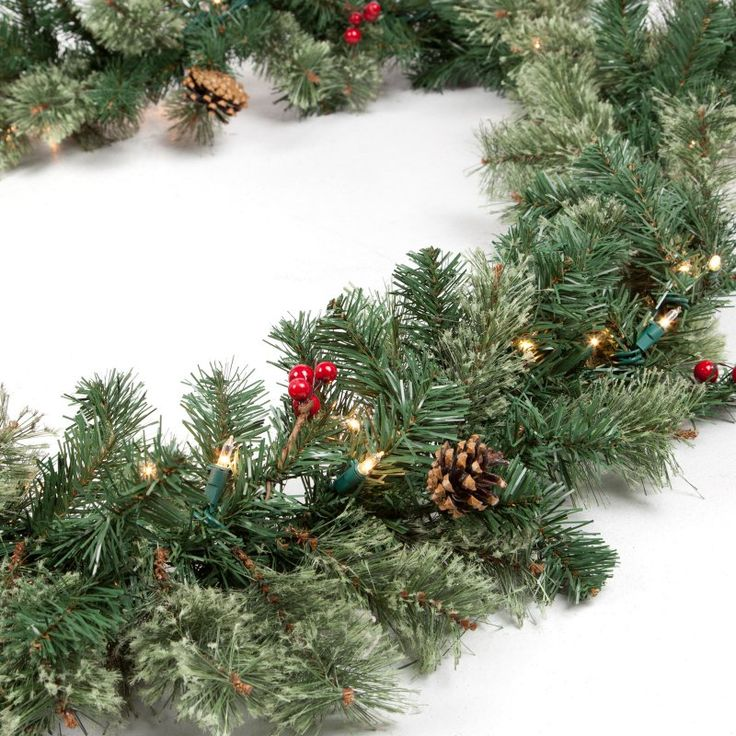 Classic Pine 9 ft. Pre-lit Garland with Berries and Pine Cones - MISA90RC-210Q-50LC