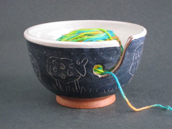 Sheep at Night Ceramic Yarn Bowl by ClothnClay on Etsy, $45.00