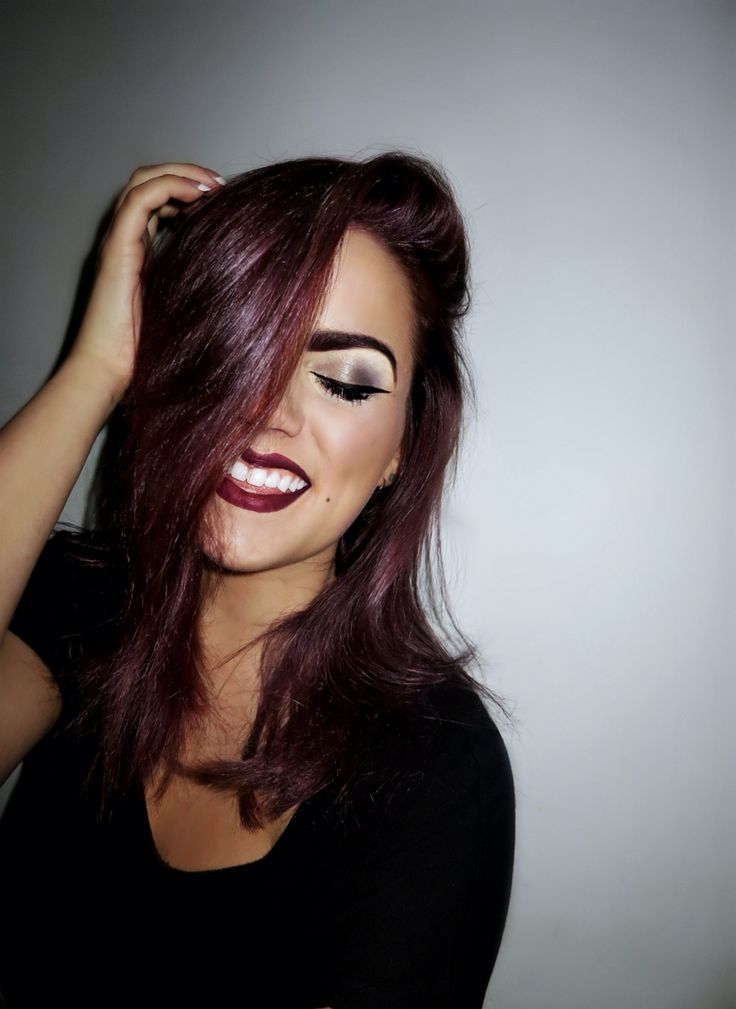 aubergine hair color curled
