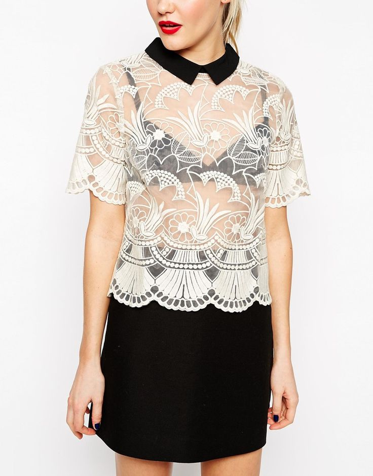 Image 3 of ASOS Premium Organza Lace T-Shirt with Contrast Collar