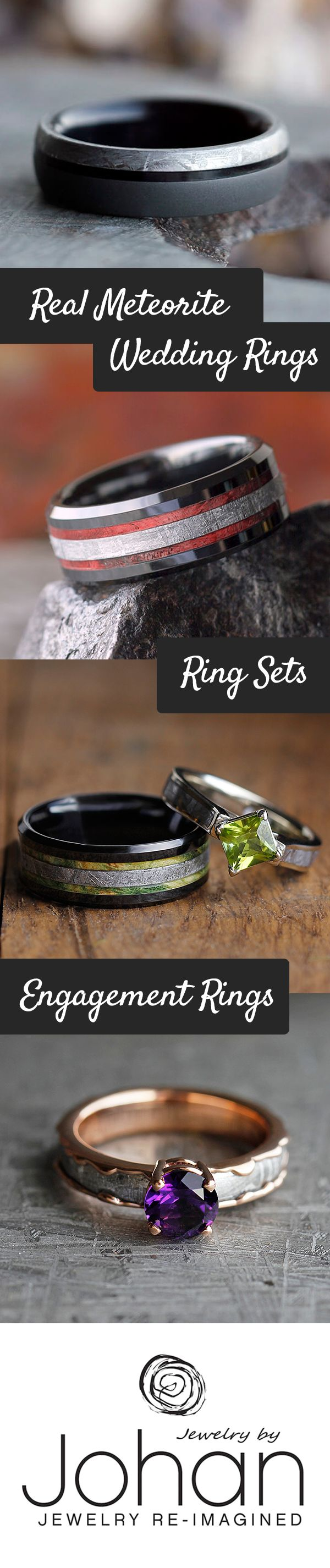 Handmade wedding rings created with genuine meteorite and combined with other unique materials like wood, antler, and dinosaur bone.