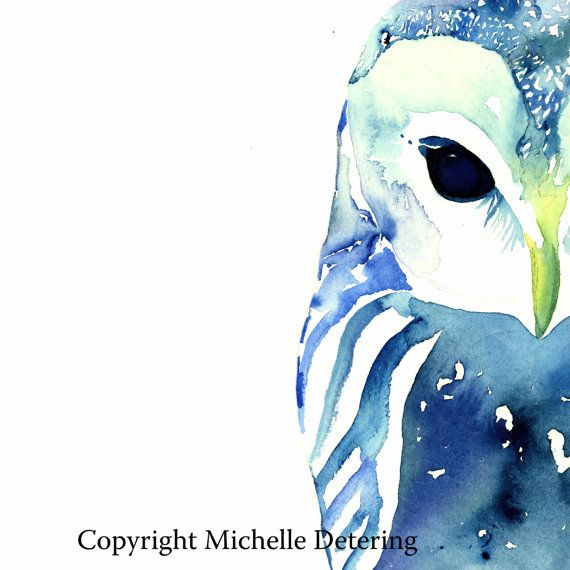 Owl Art - This is a new whimsical owl watercolor piece I painted of a blue owl peeking out from the paper!  .