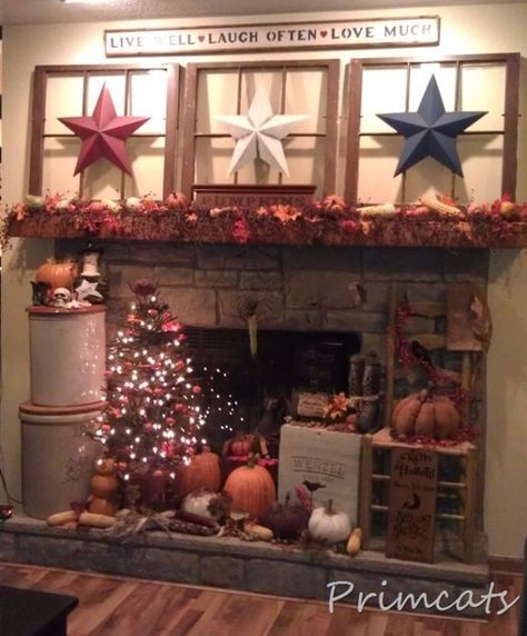 Primitive Fall Decorating...with old windows, fall tree & barn stars from Primcats. by jeannie.renshaw