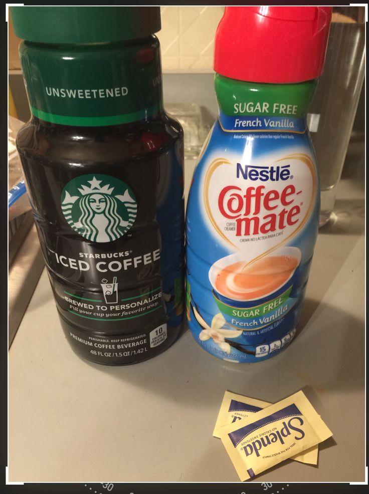 Iced Coffee Sugar Free Starbucks ready made unsweetened coffee with Sugar Free coffe Mate ...
