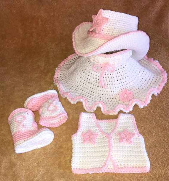 Baby cowgirl outfit cowboy boots cowboy hat skirt and vest you pick the size and colors Made to order