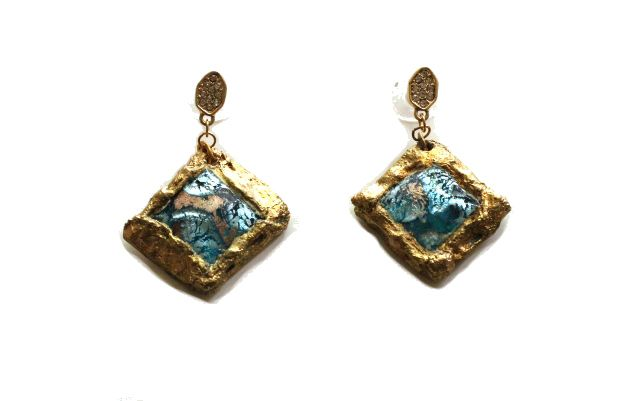 Crackle Earrings: Gold Chain, Mesh, Paint, Crystals, Glass Stone