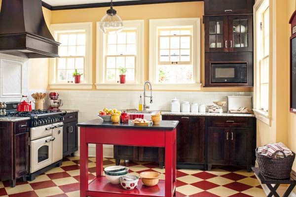 get this look british cottage style kitchen with period look appliances, checker tile floor