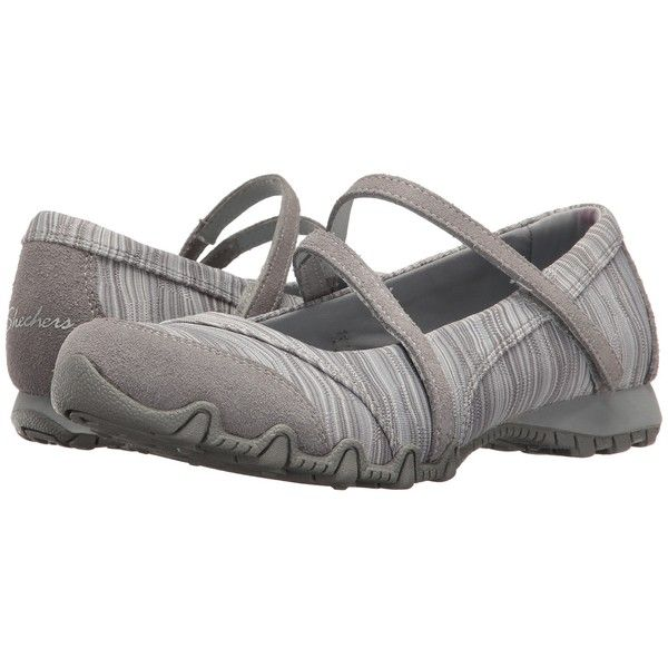 SKECHERS Bikers - Ripples (Grey) Women's Shoes ($60) ❤ liked on Polyvore featuring shoes, low profile shoes, skechers footwear, grey mary jane shoes, flexible shoes and low top