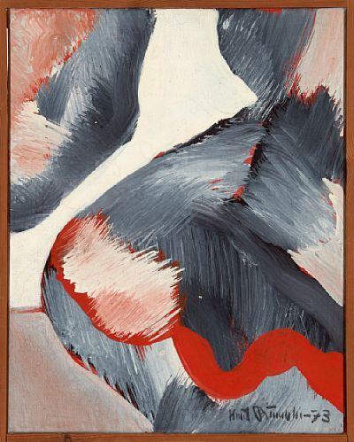 KNUT RUMOHR FRØNNINGEN, LÆRDAL 1916 - OSLO 2002  Komposisjon, 1973 Olje på lerret, 33x26 cm Signert og datert nede til høyre: Knut Rumohr -73