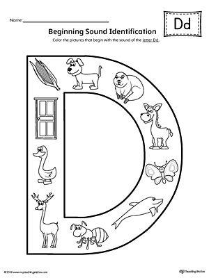 letter d beginning sound color pictures worksheet cll letter d preschool letters letter d. Black Bedroom Furniture Sets. Home Design Ideas