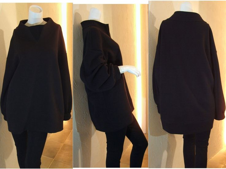 ブラック 黒 裏起毛 ニット ワイド ボトルネック スタンドカラー バルーンスリーブ ボリュームスリーブ チュニック スウェットシャツ スウェット プルオーバー ワンピース ドロップショルダー オーバーサイズ 11号 13号 Lサイズ COCOdake COuture 日本製