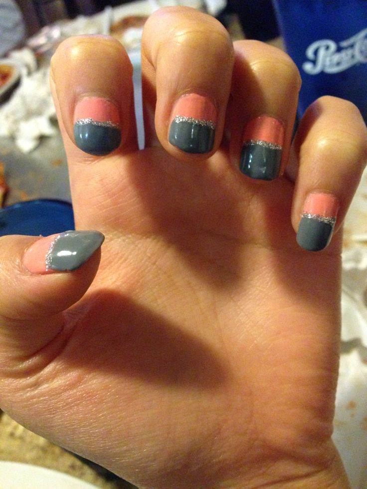 Pink background with gray deep french nail. Nail art for short nails.