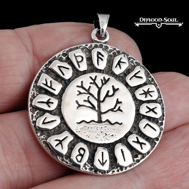 STERLING SILVER VIKING FUTHARK RUNES TREE OF LIFE PENDANT - DRAGON SOUL JEWELRY #DragonSoulJewelry