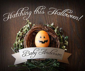 """""""My husband, Ted, and I are very much 'holiday people,' and when we found out we were due with our first baby on Halloween, we were beyond excited!"""" says Katie Anderson. """"I realized Easter was a perfect time to spread the word since I was 12 weeks along, and I loved the idea of a baby 'hatching!'""""                 With their powers combined -- Katie's being crafting and Ted's being Photoshop -- the creative couple made a graphic that displayed an egg decorated as a Jack o' lantern resting in…"""