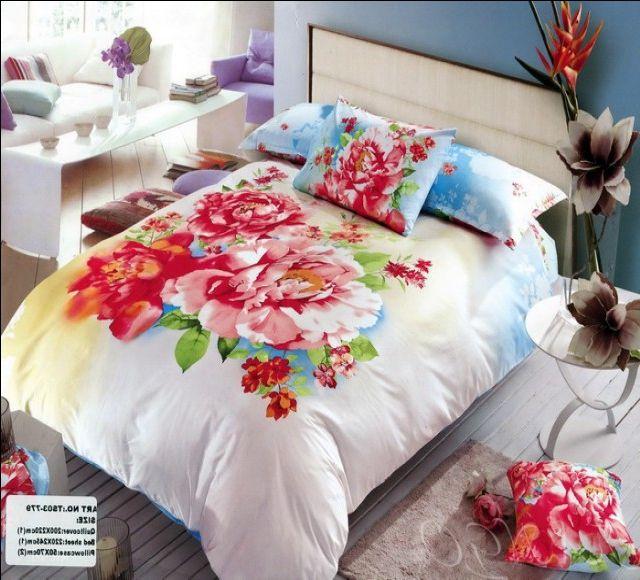 Сатиновое постельное белье с принтом из роз - бело-голубой фон