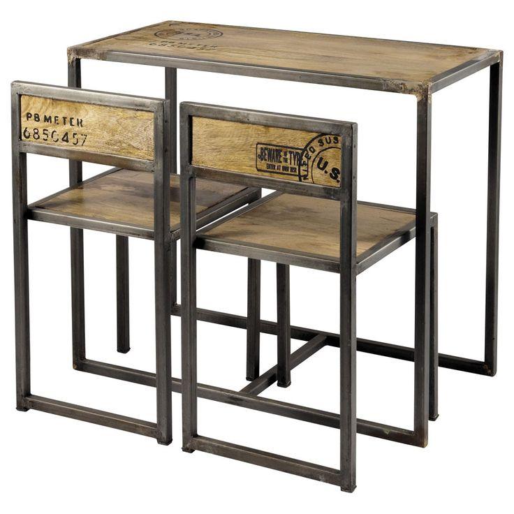 Tavolo per sala da pranzo + 2 sedie in mango e metallo L 90 cm
