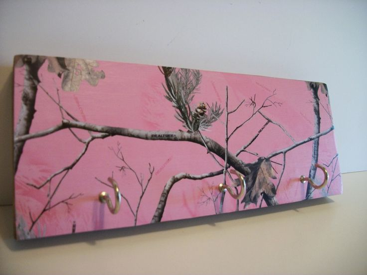 Camouflaged Key Rack Pink Camo Hunting Decor Real by WoodnDoodads, $7.50