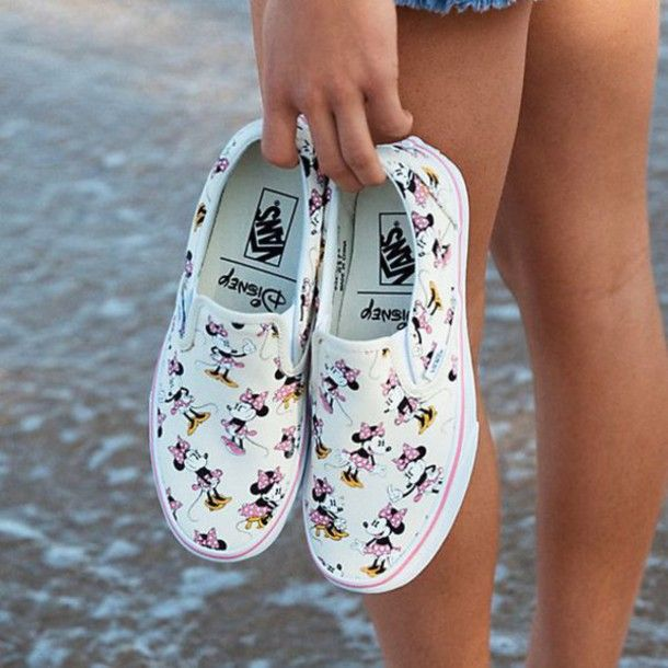 $42 Bright White Pink Yellow Minnie Mouse Character Print Disney Printed Slip On Vans Sneakers Old School Printed Vans Wheretoget's Hotlist Tumblr