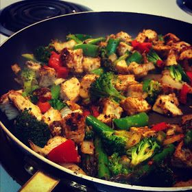 seasoned chicken: chipotle, cumin, chili powder, garlic powder asparagus, broccoli, red pepper, snap peas, garlic, onions