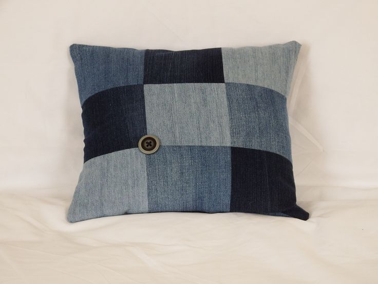 Patchwork denim throw pillow. Made out of old jeans.