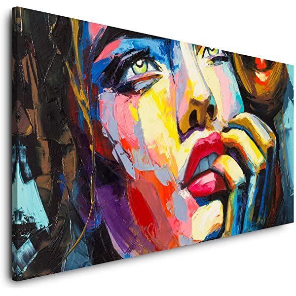paul sinus art xxl fotoleinwand 120x80cm buntes modernes olgemalde frau mit blauen augen auf leinwand exk modern moderne fotografie wandbilder 40x30