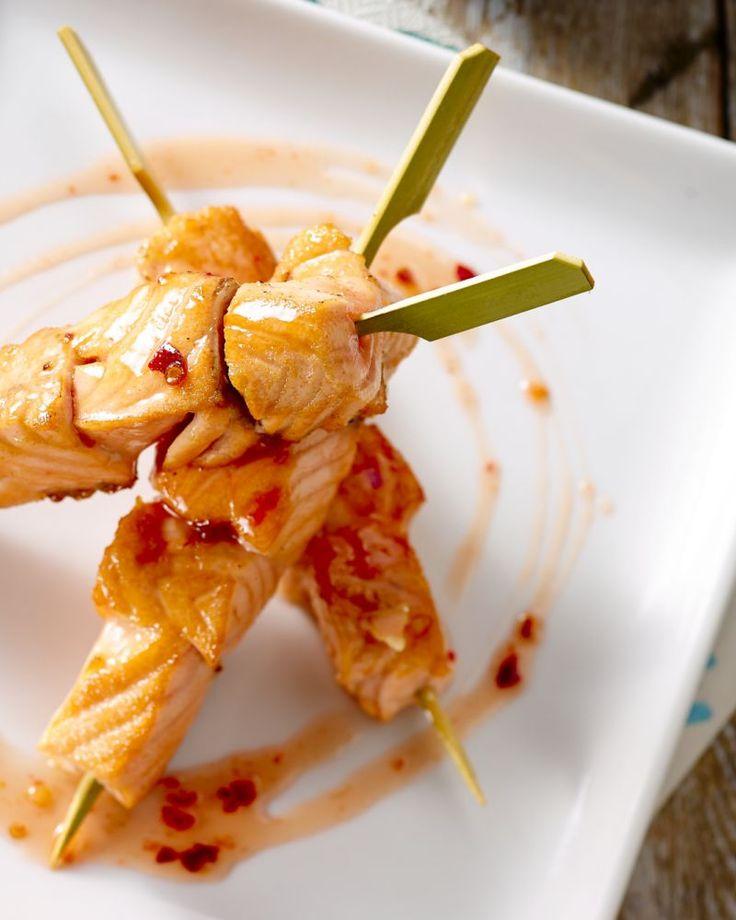 Zalmspiesjes met zoete chili en rijst - 15gram !