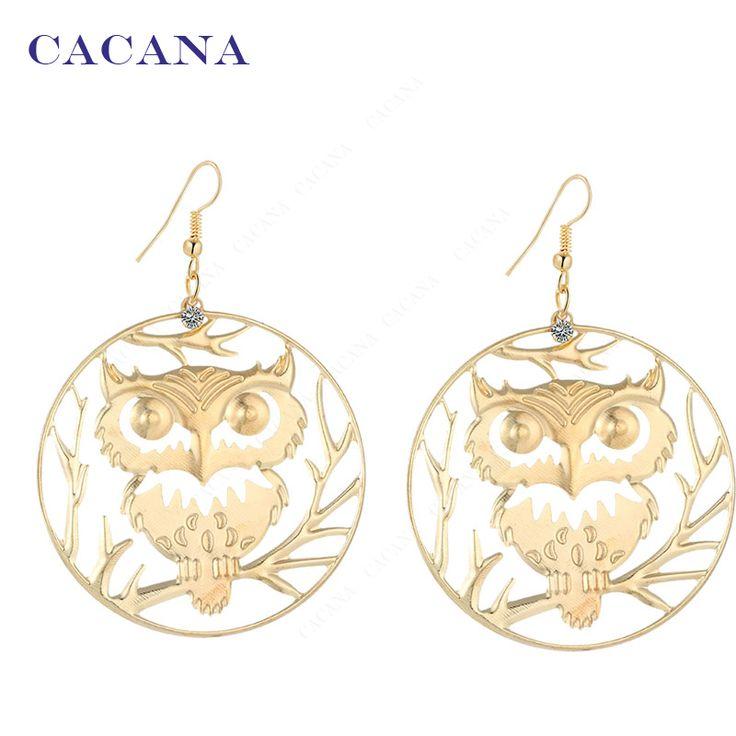 CACANA עגילים מצופים זהב עגילים ארוכים להתנדנד לנשים תכשיטים מלאכותיים ינשוף על ענף חמה למכירה No. A443