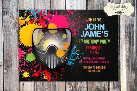 Paintball Birthday Party Invitation- 5 X 7 - Professionally printed - Envelopes Included (Digital File Version Available)