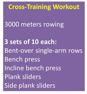 """Cross training workout for non-running days.  Includes rowing and strength.  Website explains plank sliders- killer lower ab """"pooch"""" exercise!"""