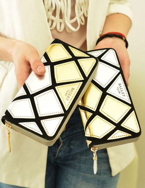 2013 New Luxuries Golden&Silvery Grid Handbag    _Bags_Wholesale Bags_Wholesalekingdom.net