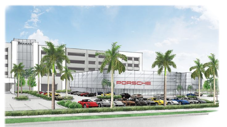 Drawing of a new Porsche dealership in Florida