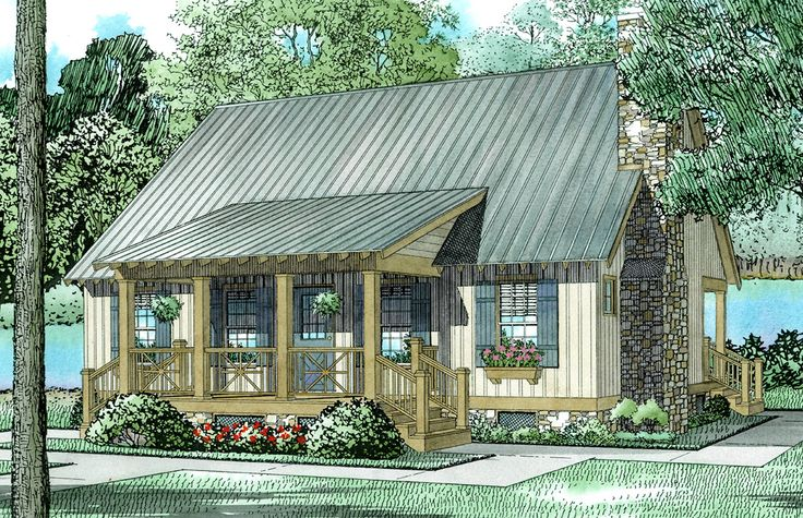 Bluff's Edge Cabin Cottage - 59123ND | CAD Available, Cottage, Narrow Lot, PDF, Vacation | Architectural Designs