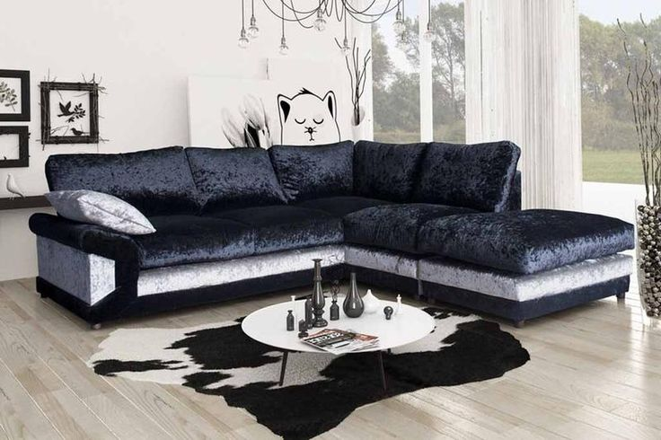 Vargas Crushed Velvet Corner Sofa Formal Back
