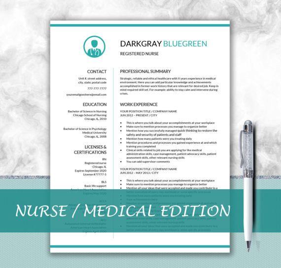 Nurse Resume Template for Word / Doctor Resume by DocumentFolder