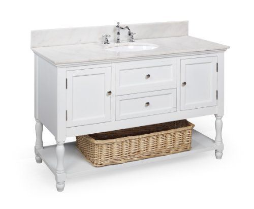 Beverly 48-inch Bathroom Vanity (White/White): Includes Marble Countertop, Solid Wood Cabinet, and Ceramic Sink by Kitchen Bath Collection, http://www.amazon.com/dp/B0092R0L06/ref=cm_sw_r_pi_dp_roSZrb0VNZHRW