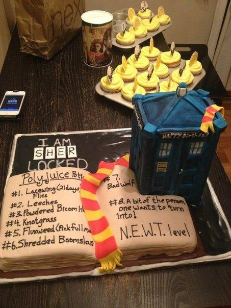 Doctor Who, Harry Potter and Sherlock cake! i can not describe the awesomeness that is going on here