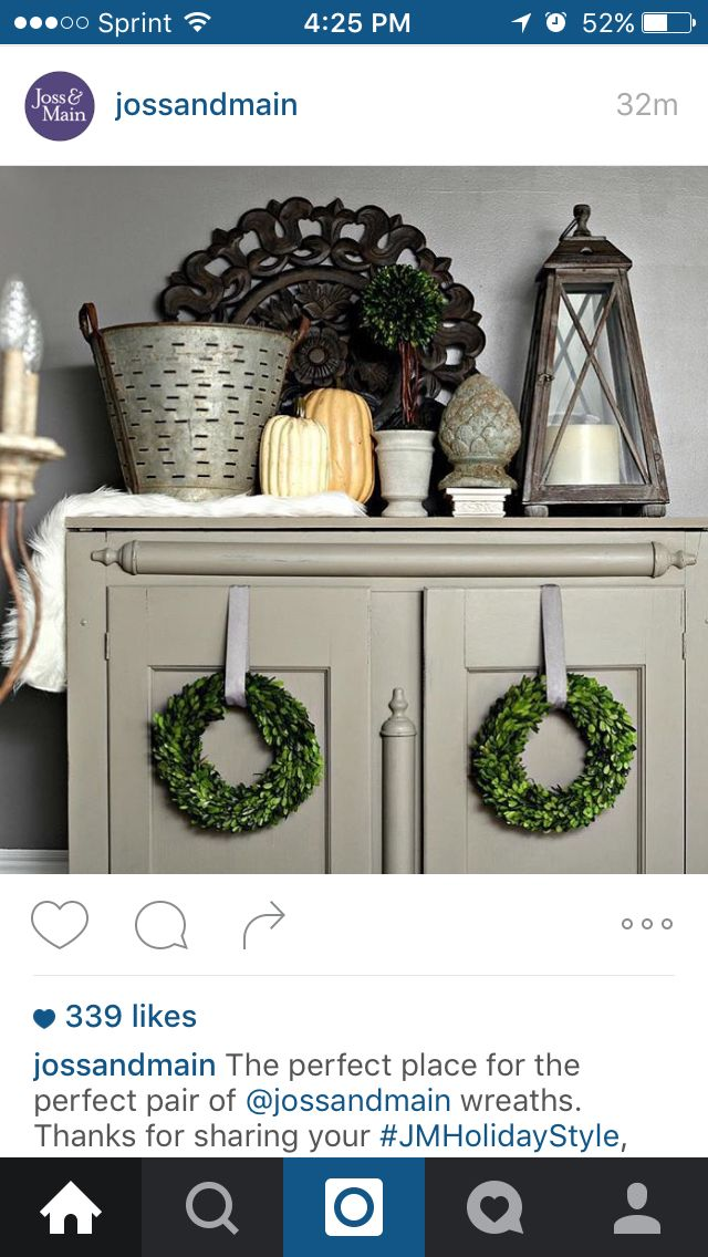 I Love The Decor On Top Of This Armoire And Wreaths Hanging From Doors