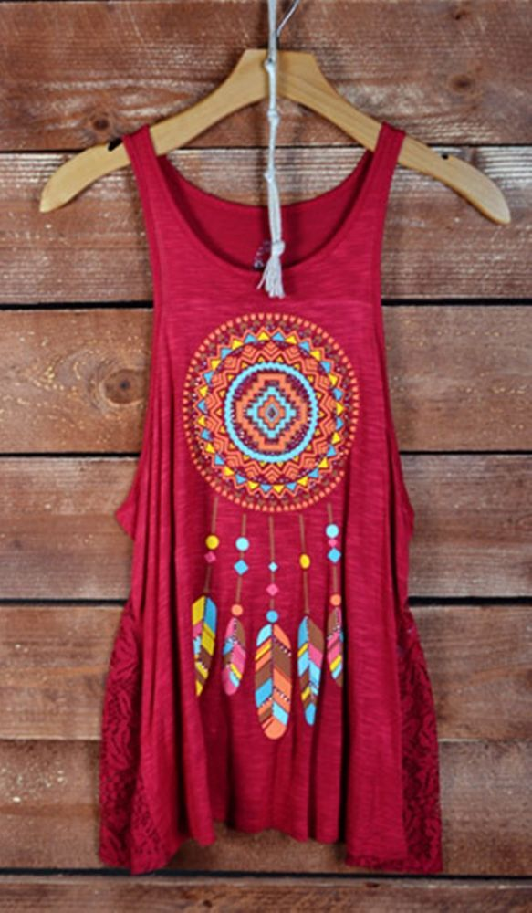 COWGIRL gYPSY DREAM CATCHER Tank Top Shirt Feathers Lace Tribal Western M NWOT #beardance #TANK