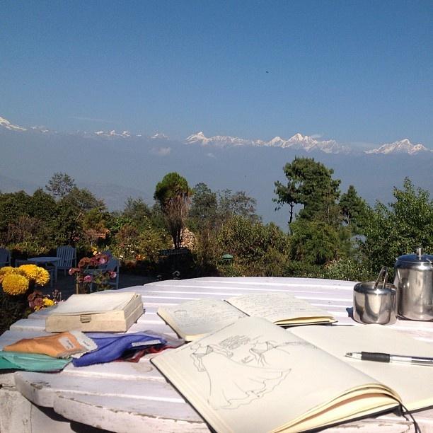 #drawing and #dreaming at the #topoftheworld #TheFortResort #Himalayan #Annapurna range #himaleila #fashion4globalshift #fashionary Web Instagram User » Followgram