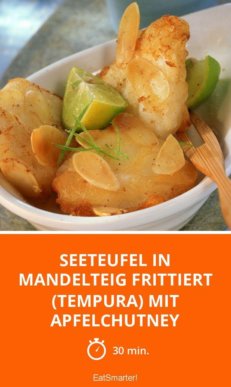 Seeteufel in Mandelteig frittiert (Tempura) mit Apfelchutney - smarter - Zeit: 30 Min. | eatsmarter.de