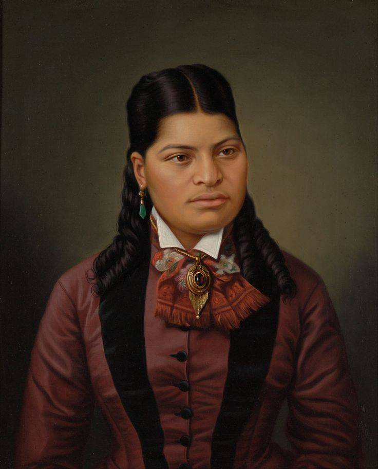 Maori girl, oil on canvas, by Gottfried_Lindauer (c.1874). At Te Papa museum.