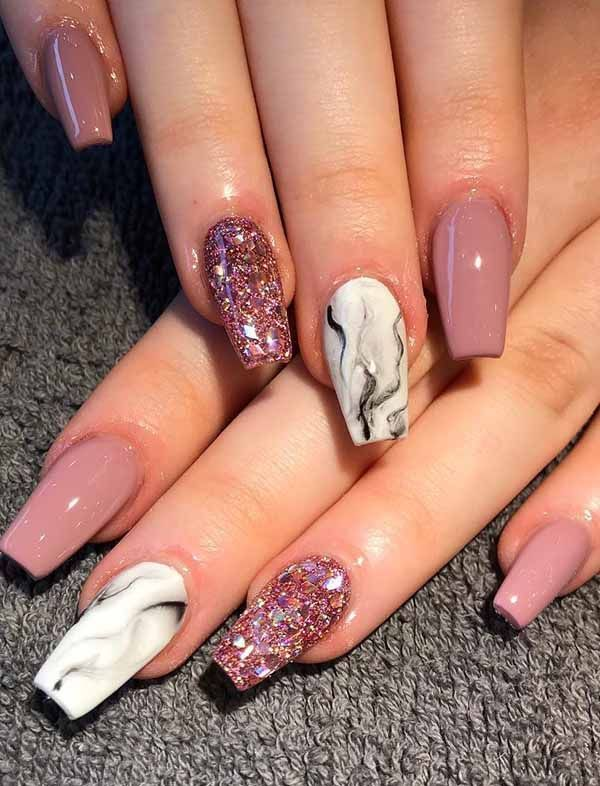 8 Fantastic Pink Nail Designs Glitter Color Combos 2019 : Have a look