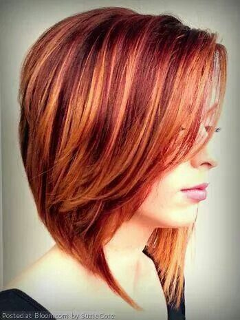 red highlighted angled bob
