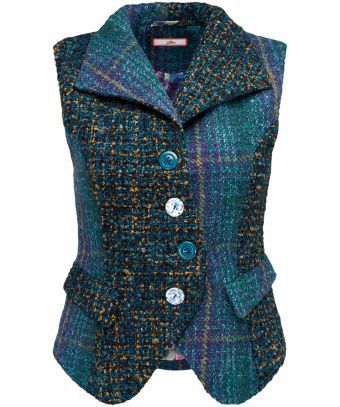 """Evoking the mysterious colours of the Toro River in Costa Rica, this woven waistcoat is full of unique texture and detail. Fully lined, with complementing buttons and mock belt back detail, it's great for those cooler days over a casual white blouse. Approx Length: 57cm (at longest point) Our model is: 5'7""""  Blouse  sold separately   Sizing note:  Some customers have found this item to be a small fit, so you may wish to consider ordering a larger size."""